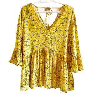Yellow floral boho peplum peasant blouse tie back